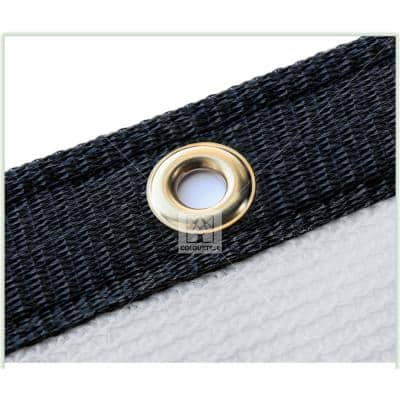 5 ft. x 12 ft. White Privacy Fence Screen Mesh Fabric Cover Windscreen with Reinforced Grommets for Garden Fence