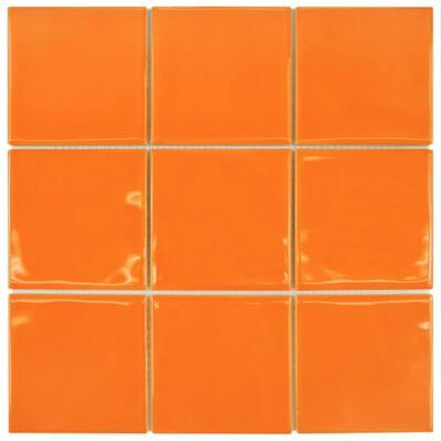 Twist Square Orange Sunset 11-3/4 in. x 11-3/4 in. Ceramic Mosaic (9.79 sq. ft. /Case)