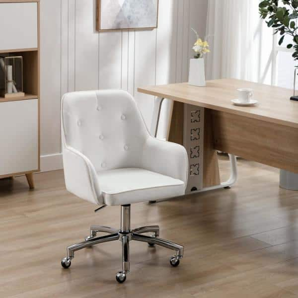 Homefun White Velvet Home Office Tufted Adjustable Height Task Chair With Wheels Hfhdof 008w The Home Depot