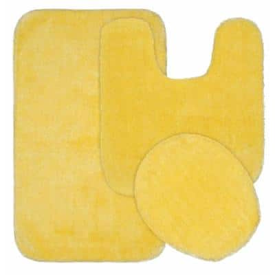 Traditional Rubber Ducky Yellow 21 in. x 34 in. Solid Plush Nylon 3-Piece Bath Mat Set