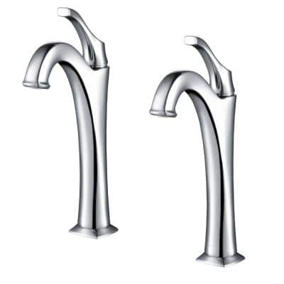 Arlo Single Hole Single-Handle Vessel Bathroom Faucet with Pop Up Drain in Chrome (2-Pack)