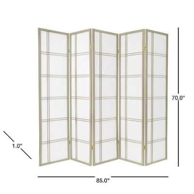6 ft. Grey Double Cross 5-Panel Room Divider