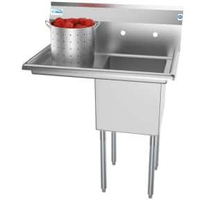 33 in. Freestanding Stainless Steel 1 Compartment Commercial Sink with Drainboard