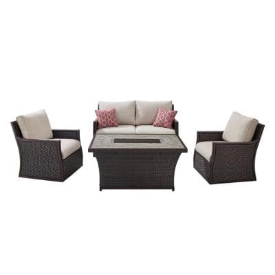 Barcelona 4-Piece Wicker Fire Pit Patio Conversation Set with Brown Cushions