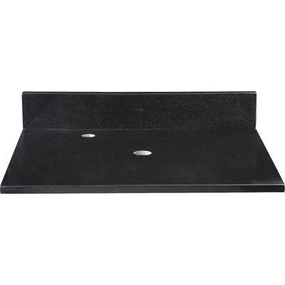 25 in. Granite Vanity Top in Black without Basin