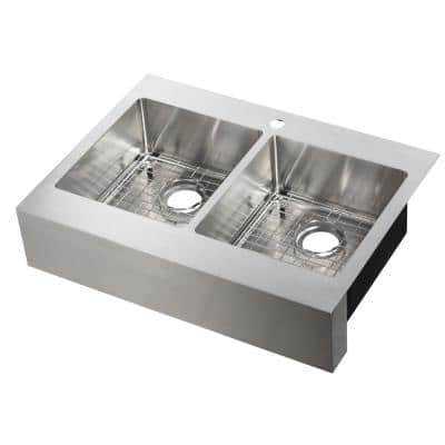 Brimley Retrofit Dual Mount Stainless Steel 33 in. 1-Hole 50/50 Double Bowl Flat Farmhouse Apron Front Kitchen Sink