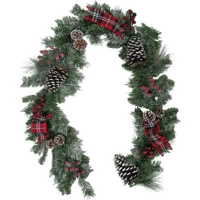 6 ft. Christmas Garland with Pinecones, Berries and Plaid Bows in Green
