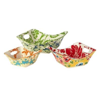 Flower Power 8,15,30 oz. 4.75 in., 6.5 in., 8.25 in. Multicolor Porcelain Square Bowl (Set of 3)