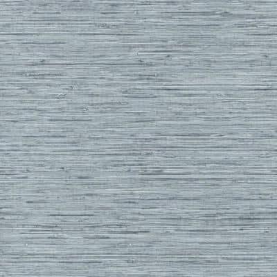 Grasscloth Blue and Grey Vinyl Peel and Stick Wallpaper Roll (Covers 28.18 sq. ft.)