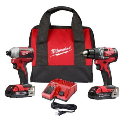 M18 18-Volt Lithium-Ion Brushless Cordless Compact Drill/Impact Combo Kit (2-Tool) W/ (2) 2.0Ah Batteries, Charger & Bag