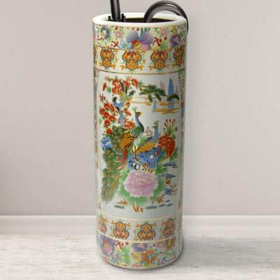 Oriental Furniture 24 in. White Satsuma Birds and Flowers Porcelain Umbrella Stand