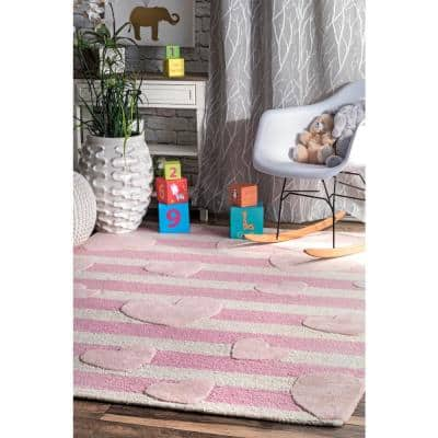 Hearts Playmat Pink 5 ft. x 7 ft. Area Rug