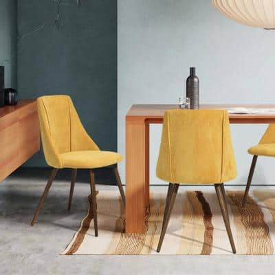 Upholstered Yellow Side Dining Chair Modern Dining Chair
