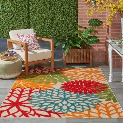 Aloha Green 4 ft. x 6 ft. Floral Modern Indoor/Outdoor Area Rug