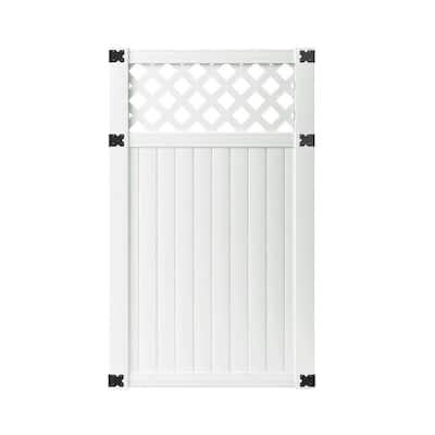 3-1/2 ft. W x 6 ft. H White Vinyl Lewiston Lattice Top Fence Gate