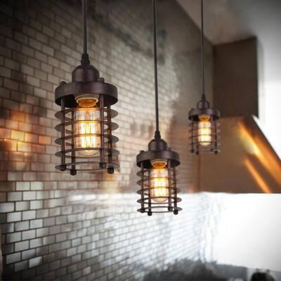 Edison Farmhouse 1-Light Bronze Industrial Rustic Island Bar Pendant Light with Dynamic Cage Shade