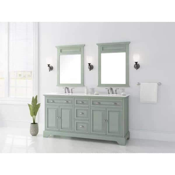Home Decorators Collection Sadie 67 In W X 21 5 In D Vanity In Antique Light Cyan With Marble Vanity Top In Natural White With White Sinks Md V1836 The Home Depot