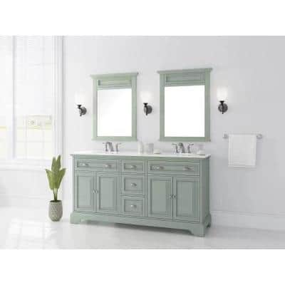 Sadie 67 in. W x 21.5 in. D Vanity in Antique Light Cyan with Marble Vanity Top in Natural White with White Sinks