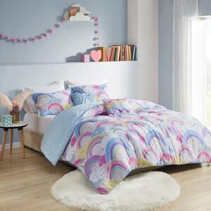 Lucy 4-Piece Multi Twin Printed Rainbow Cotton Reversible Comforter Set