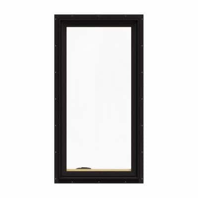 24.75 in. x 48.75 in. W-2500 Series Black Painted Clad Wood Left-Handed Casement Window with BetterVue Mesh Screen