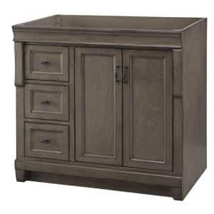 Naples 36 in. W Bath Vanity Cabinet Only in Distressed Grey with Left Hand Drawers