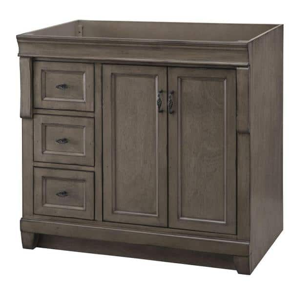 Home Decorators Collection Naples 36 In W Bath Vanity Cabinet Only In Distressed Grey With Left Hand Drawers Nadga3621dl The Home Depot