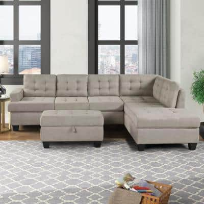 3 Piece Gray Tufted Velvet 5 Seats L Shape Right Facing Sectionals Sofa with Storage Ottoman