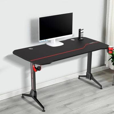 63 in. T-Shaped Rectangular Black Metal and Wood Gaming Desk with USB Gaming Handle Rack Charger And Cup Holder