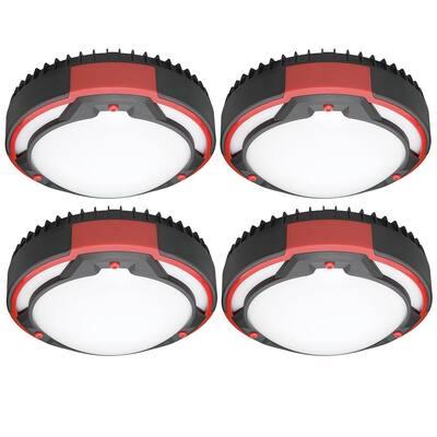 Spin Light 9 in. Black Red Heavy-Duty Design Selectable LED Flush Mount Ceiling Light 1100 Lumens 3 CCT (4-Pack)