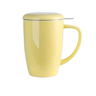 Large Tea Mug 15.2oz. Yellow with Lid and Stainless Steel Infuser -Tea-for-One Perfect Set for Office and Home Use