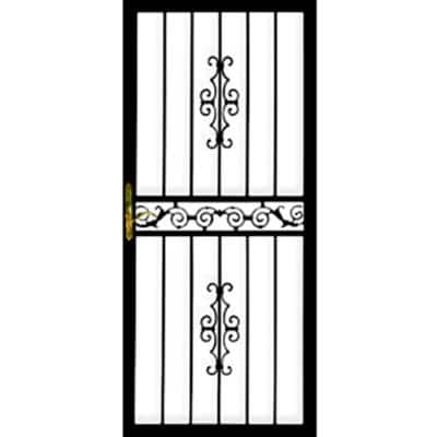 32 in. x 80 in. 101 Series Black Right-Hinge Gibraltar Security Door with Self-Storing Glass Feature