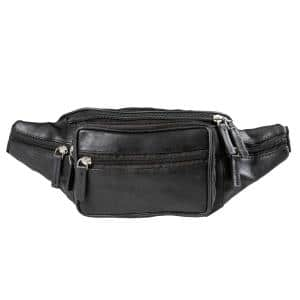 CHAMPS Black Genuine Leather Waist-Pack