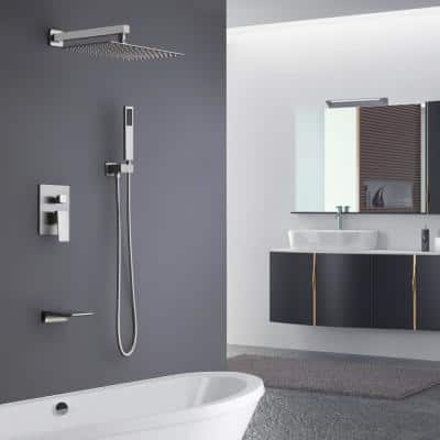 Single-Handle 1-Spray Tub and Shower Faucet in Brushed Nickel with 2 GPM 10 in. 3 Functions (Valve Included)