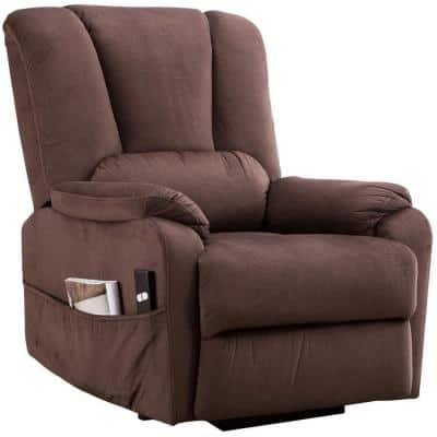 34 in. Width Big and Tall Espresso Polyester Nailhead Trim 1 Position Manual Recliner