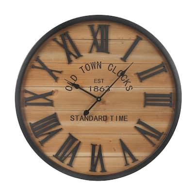 Wood Plank Metal Framed Wall Clock