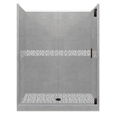 Del Mar Grand Hinged 36 in. x 54 in. x 80 in. Center Drain Alcove Shower Kit in Wet Cement and Black Pipe Hardware