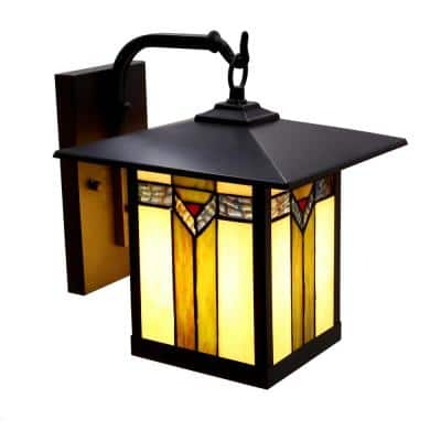 Highland 1-Light Bronzed Outdoor Stained Glass Wall Lantern Sconce