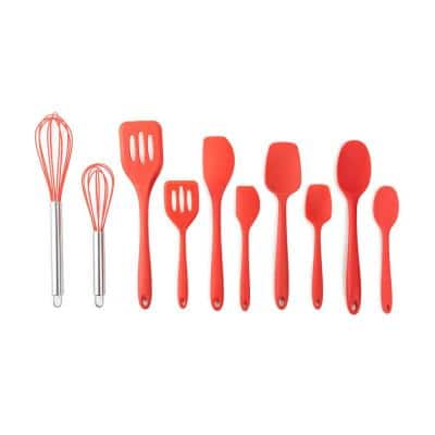 10-Piece Strawberry Large and Mini Essential Silicone Utensil Set