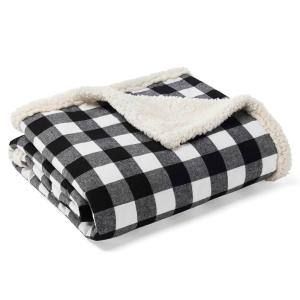 Cabin Black Plaid Sherpa Reverse Throw Blanket