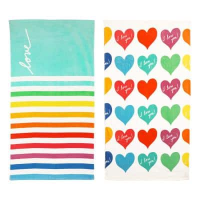 French Love Stripe and I Love You Hearts Multi-Colored 2-Piece Cotton Beach Towel Set