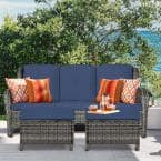 Wicker Outdoor Patio Sofa Sectional Set with Blue Cushions and Ottoman