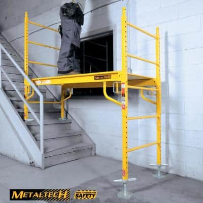 Safeclimb Baker 6.2 ft. L x 6.25 ft. H x 2.5 ft. D Scaffold Platform with Wheels and Leveling Jacks, 1100 lbs. Capacity