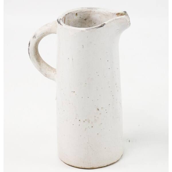 Zentique Stoneware Distressed White Medium Decorative Pitcher Vase 5311m The Home Depot