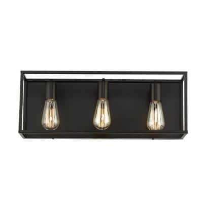 Rollins 22 in. 3-Light Black Vanity Light