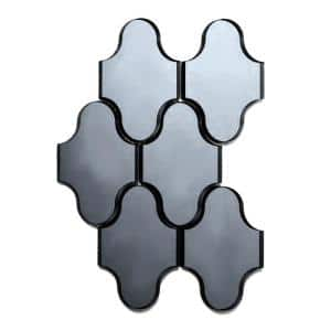 Reflections Graphite Blue Swag Waterjet Mosaic 4 in. x 5 in. Glass Mirror Mesh Mounted Wall Tile (0.52 Sq. ft.)