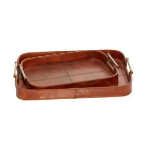 Stained Brown Leather and Wood Rounded Rectangular Trays (Set of 2)