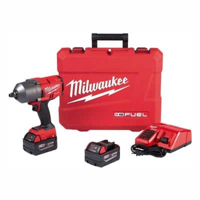M18 FUEL 18-Volt Lithium-Ion Brushless Cordless 1/2 in. Impact Wrench with Friction Ring Kit With Two 5.0 Ah Batteries