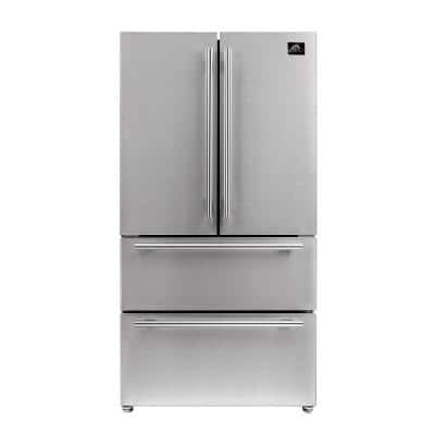 Moena 36 in. 19.2 cu. ft. French Door Refrigerator with Ice Maker in Stainless Steel