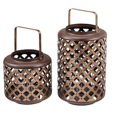 Antiqued Bronze Lattice Candle Hanging or Tabletop Lantern (Set of 2)
