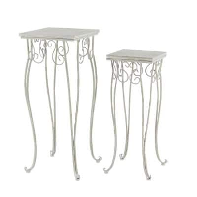 Large Traditional Whitewashed Wood and Metal Tricycle Plant Stands (Set of 2)